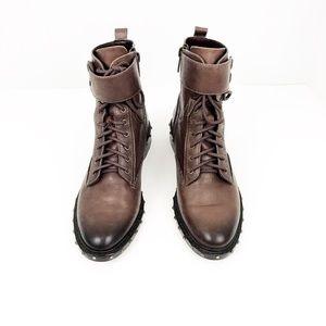 VINCE CAMUTO Talorini Brown Studded Moto Boots.